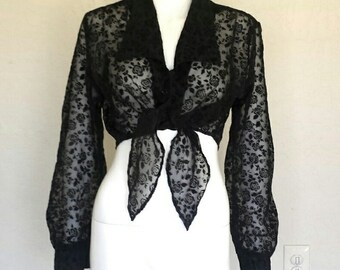 90s cropped semi sheer black velvet rose flocked burnout print blouse  Sz large  Good cond