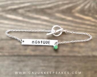 Longbar Bracelet | Dainty Bracelet | Personalized Bracelet | Personalized Hand Stamped Jewelry | Gifts For Her