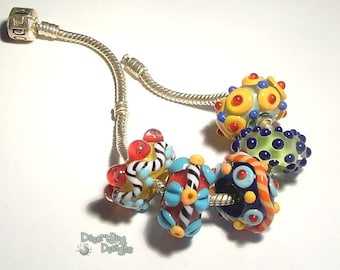 TASTY Handmade Lampwork Beads  Colors Colors fits 5mm Hole  Eurostyle Bracelets