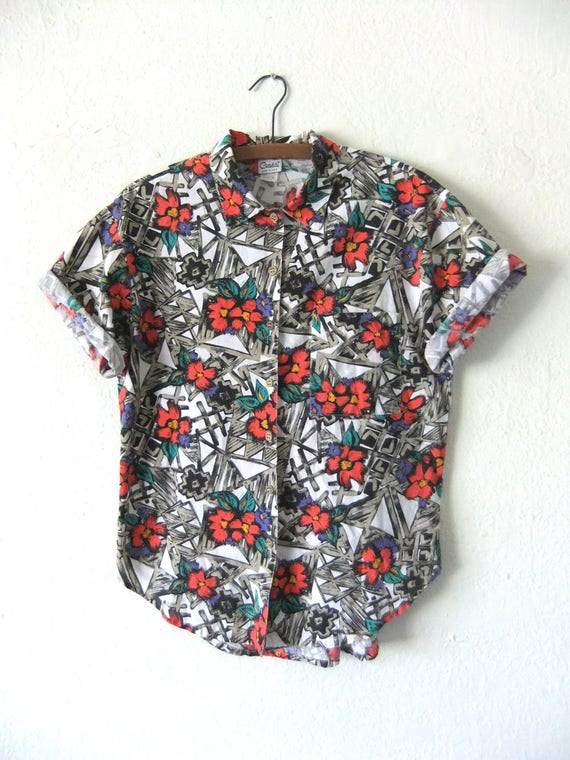Tropical 90s Abstract Shirt 887f5So