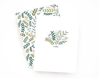 Personalized Journal | Monogram Notebook with Illustrated Floral Pattern : Garden Wreath Collection