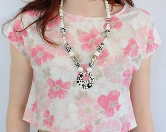 Pastel pink and grey floral print cap sleeve crop top UPCYCLED