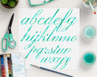 WATERCOLOR CURSIVE, Mint Alphabet, Brush Lettering Fonts, Mint Font Clip Art, Watercolor Printable Letters, BUY5FOR8