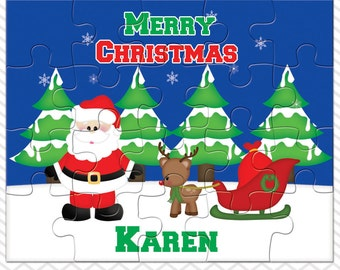 Santa Sleigh Personalized Puzzle, Personalized Santa Puzzle, Personalized Kids Puzzle
