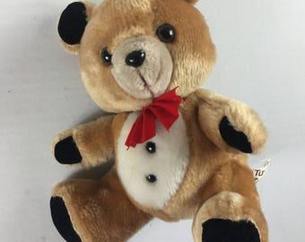 "Russ Berrie Tuxedo Bear Plush Stuffed 8"" Toy Teddy Bow Tie Velvet Cuddly"