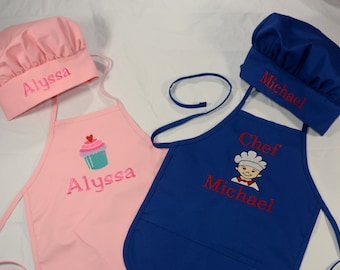 Apron and Chef Hat for Kids- Children's personalized Apron and Chef Hat- Boy or Girl Chef Hat and Apron