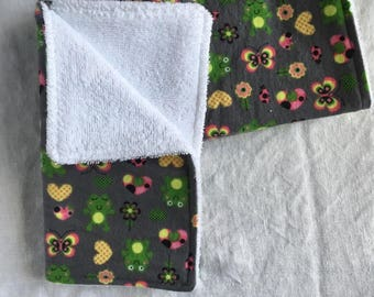 Burp Cloths - Butterfly/Frog (Set of 3)