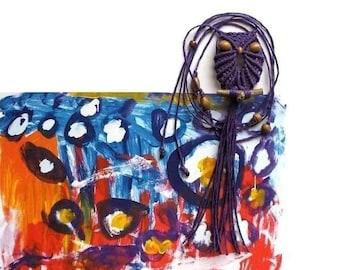 Purple Macrame Owl Necklace