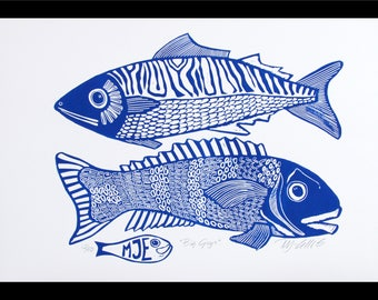 linocut, Big Guys, fish, blue and white, navy blue, fishing, gift for him, printmaking, beach house, blue, white, home interior, seaside