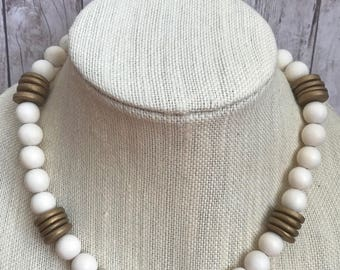 White Wood Bead Necklace. Gold. White. Gold disc beads. Summer. Spring.  Boho. Beachy. Neutral.