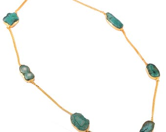 Green agate brass necklace