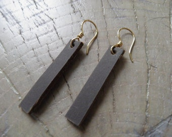 "Leather Bar Earrings... ""Saddle Up"" leather dangle / leather earrings / bar earrings / leather jewelry / joanna gaines earrings"