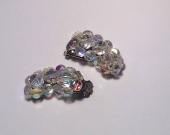 Vintage Aurora Borealis Clip Earrings