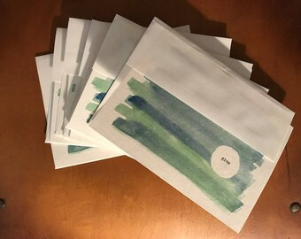 """6 pack """"Give""""  (Blank Cards) Watercolor Prints 5x7"""