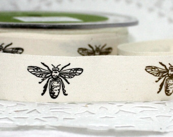 Bumblebee Ribbon, Honey Bee ribbon, 3/4' wide by the yard, Bee Patterned Ribbon, Gift Wrapping, Invitations, Sewing, Party Supplies