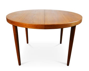 Original Danish Round teak table with secret drawer - Skjold