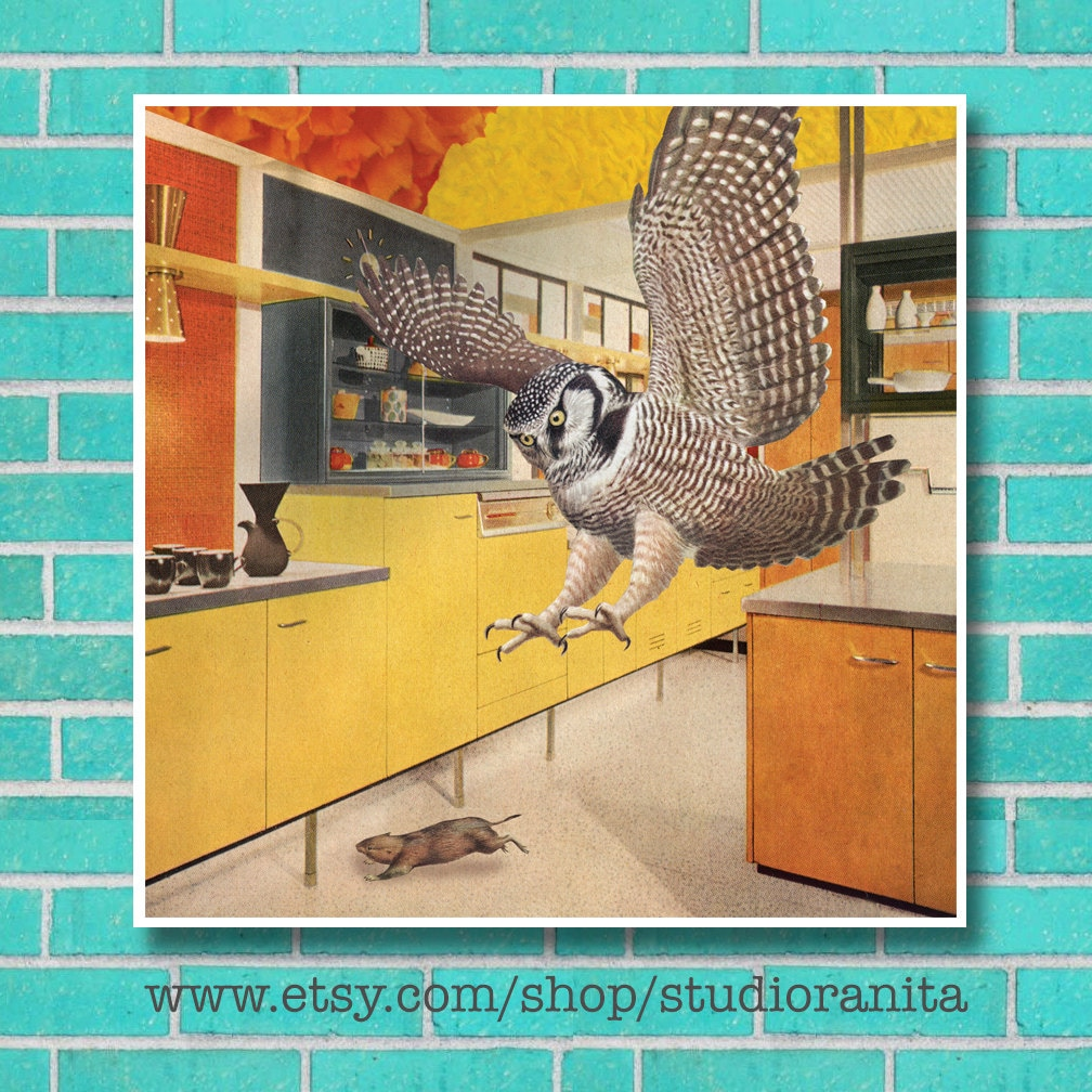 Roomscape Owl surreal animal bird collage instant download