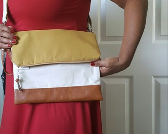 Yellow Crossbody Bag, Crossbody Purse, Tan Crossbody, Crossbody Strap, Brown Faux Leather, Clutch Bag, Crossbody Handbag, Mothers day gift