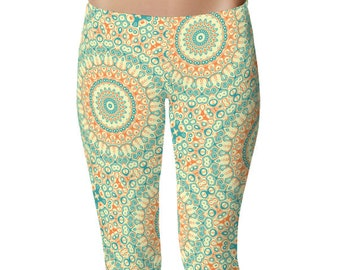 Tropical Leggings Yoga Pants, Orange and Turquoise Yoga Tights, Printed Leggings for Women