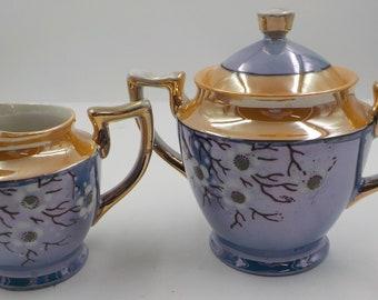 Vintage lustre ware Sugar Bowl w/lid and Creamer Set - porcelain - Made in Japan