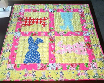 Bunny Applique Tabletopper or Baby Quilt