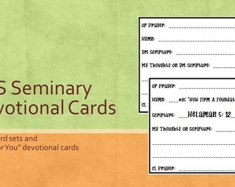 Devotional Cards, LDS Seminary, 28 Pre-Done Cards with Book of Mormon Doctrinal Mastery, Plus Blanks, Instant Download Ready to Print
