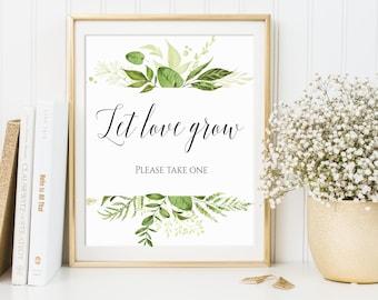 Let Love Grow, Wedding Favor Sign, Please Take One, Seed Favor Sign, Succulent Favor Sign, Favors Please Take One, Greenery Decor, C8