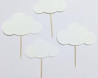 Paper Cloud Cupcake Toppers, Cloud Food Picks, Wedding Decoration, Baby Shower Decor, Birthday Picks, Appetizer Picks (Set of 12)