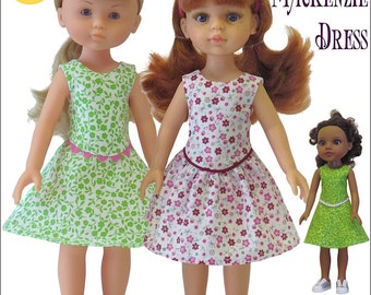 Pixie Faire Genniewren Designs Mackenzie Dress Doll Clothes Pattern for Hearts For Hearts and Les Cheries Dolls- PDF