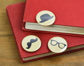Specs Moustache Bowler Hat Hipster Pin Badge Button pack