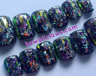 Black Galactic Fire Opal Holographic Press On Gel Holo Nail Art Fake Nails