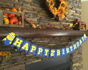 Minion Inspired Birthday Banner Minion Party Decor Happy Birthday Photo Prop Minion Birthday