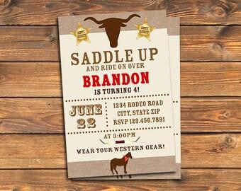 Western Birthday Party Invitation, Printable Cowboy Saddle Up Rodeo Invites, Horse, Rustic, Sheriff, Custom Digital Invitation, Any Age