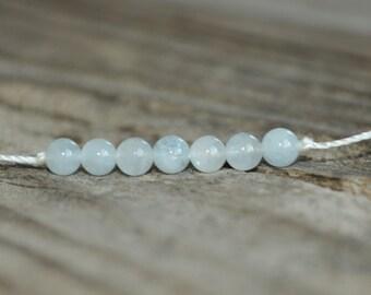 Courage, Aquamarine Yoga Bracelet, Throat Chakra, Minimalist Jewelry, Meditation Bracelet, Stack Bracelet