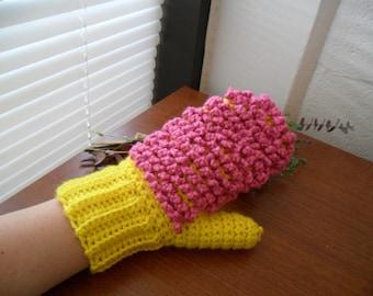 Yellow Dusting Mitt - Pink Dusting Mitt - Yellow Hand Duster - Pink Hand Duster - Washable Hand Duster - Reusable Dusting Mitt