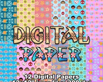 Moana - Digital Paper - 12 jpeg files 12x12 inches 300 dpi - For Cardmaking, Scrapbooking, Party Decorations and More