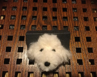 White Poodle Brooch