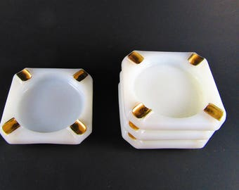 Vintage  Milk Glass Square Ashtrays with Gold, Set of 4