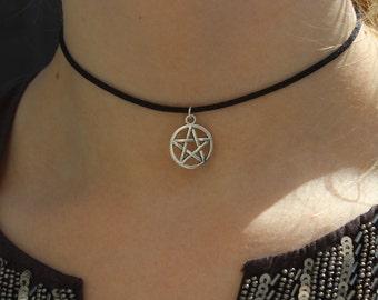 Black Cord Choker Necklace  Silver Pentagram 90s Choker Necklace on Black Cord