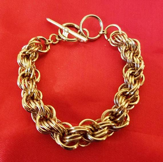 muti links chain bracelet gold 10mm metal toggle womens mens unisex jewelry new