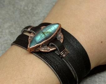 Boho Wrap Bracelet - Gifts for Her - Leather Wrap Bracelet - Crystal Wrap Bracelet - Bohemian - Mothers Day Gift - Labradorite Wrap Bracelet