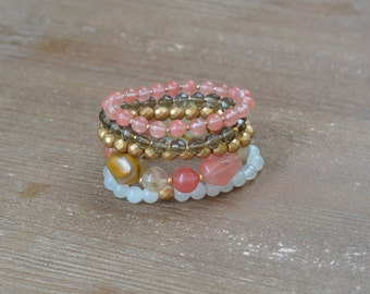 CLOSEOUT Tiger Rose Stack - Rose Quartz Bracelet Stack - Beaded Stretch Bracelet Set - Chunky Bead Bracelet - Stackable Arm Candy Bracelets