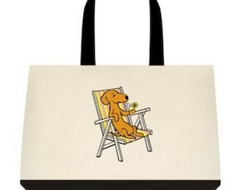 Dachshund Canvas Tote Summertime