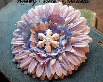 Lavender Snowflake Hair Clip Fascinator - Vegan Friendly - Winter, Wonderland, Frozen, Belly Dance, Pin Up, Hair Flower, Daisy