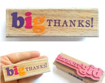 Big THANKS - Rubber Stamp, Greeting Cards, Etsy Shop, Logo, Branding, Packaging, Invitations, Party, Favors, Wedding Gifts