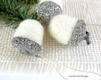 Felted Acorns with Silver German Glass Glitter, Silver Anniversary, Wedding Decor, Christmas Tree Ornament Woodland Theme Set of Three