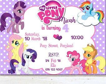 Purple My Little Pony birthday invitation, Purple, Polka dots, My little pony and friends