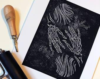 Skeleton Illustration Lino Print A4