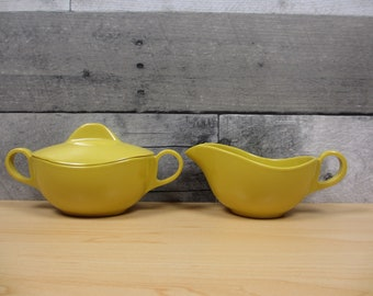 Mustard Yellow Biomorphic Melamine Creamer and Sugar with Lid - AS IS