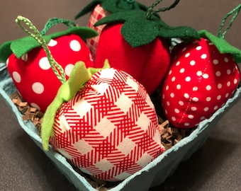 fabric strawberries / assorted colors